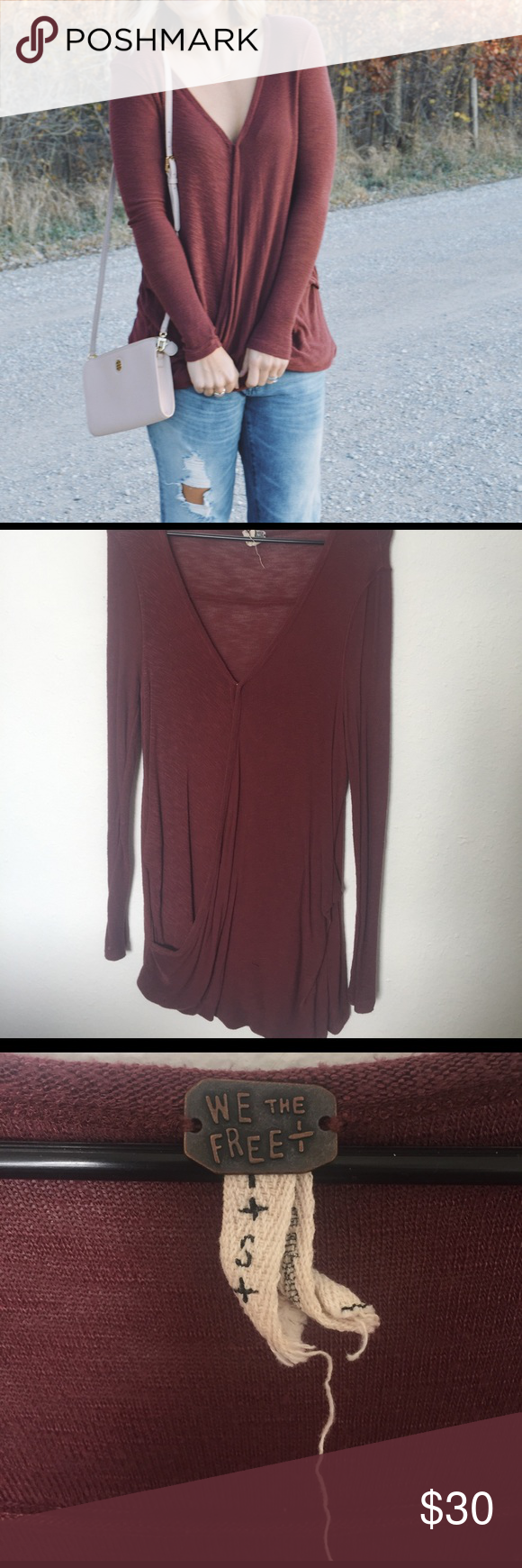 Free People wrap-front top! Size S. Long length. Thin material. Burgundy/rust color. Worn twice. Free People Tops Tees - Long Sleeve