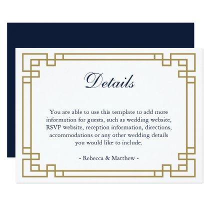 Elegant geometric gold and Blue wedding details Card Weddings - guest card template