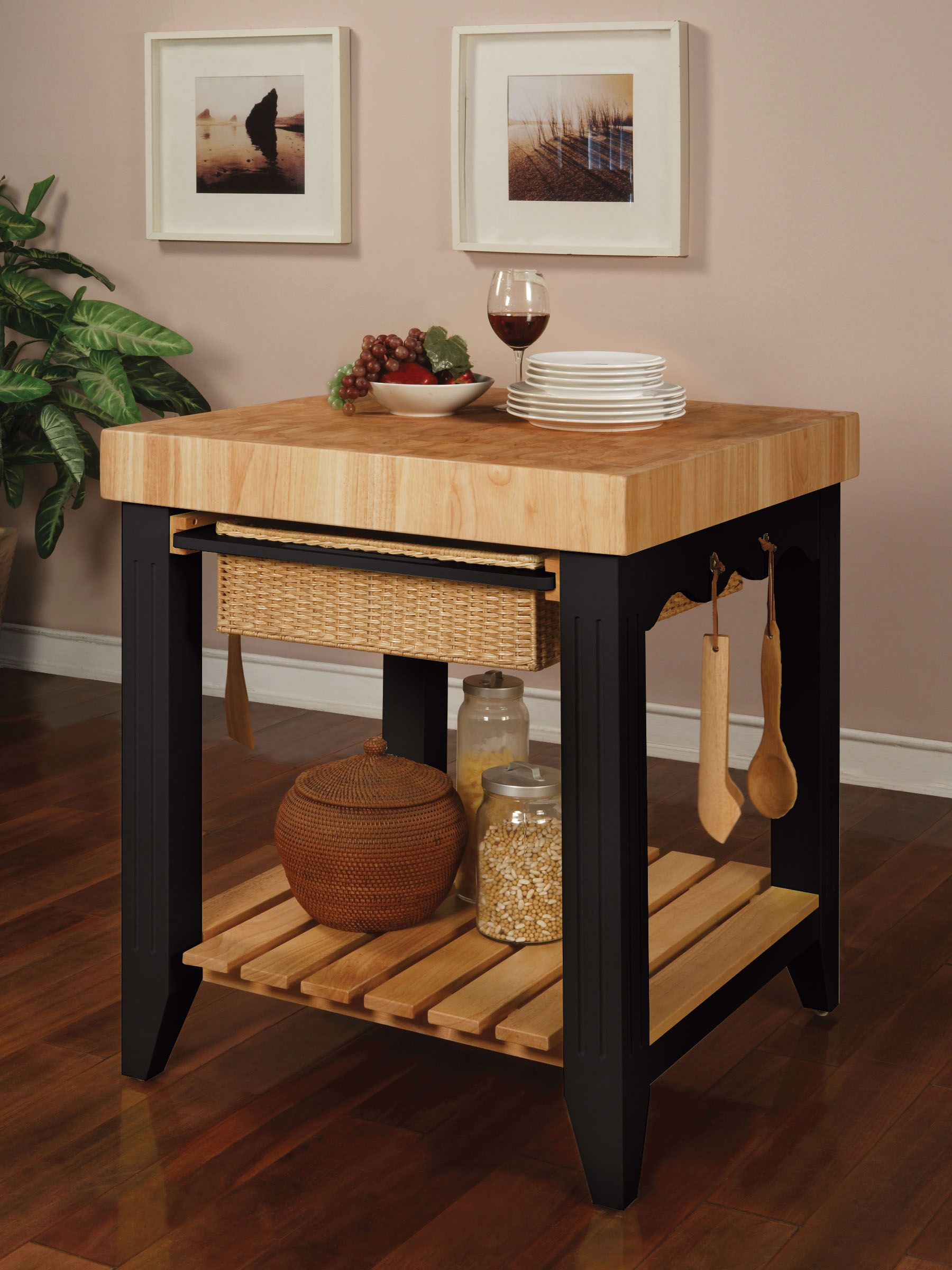 L Powell Color Story Black Butcher Block Kitchen Island