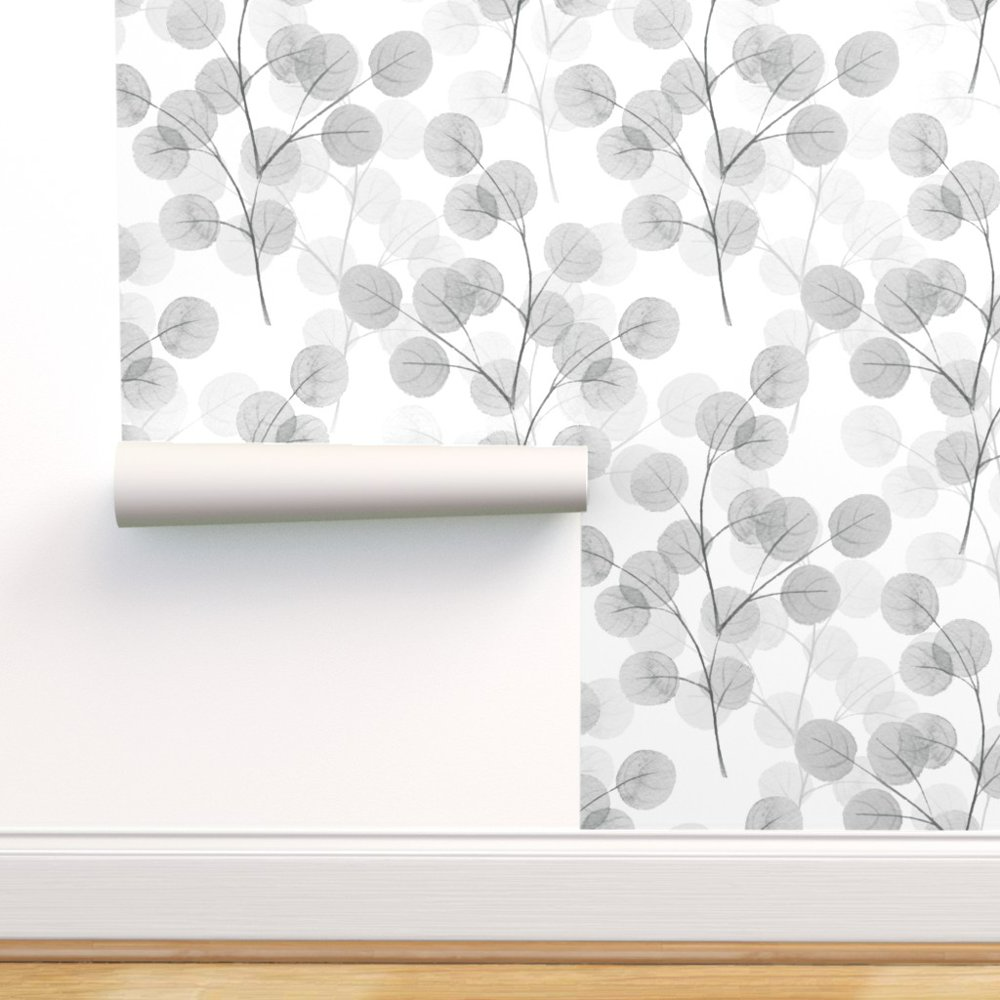 Peel And Stick Removable Wallpaper Leaves Watercolor Branches Monochrome Floral Walmart Com Removable Wallpaper Stick On Wallpaper Leaf Wallpaper