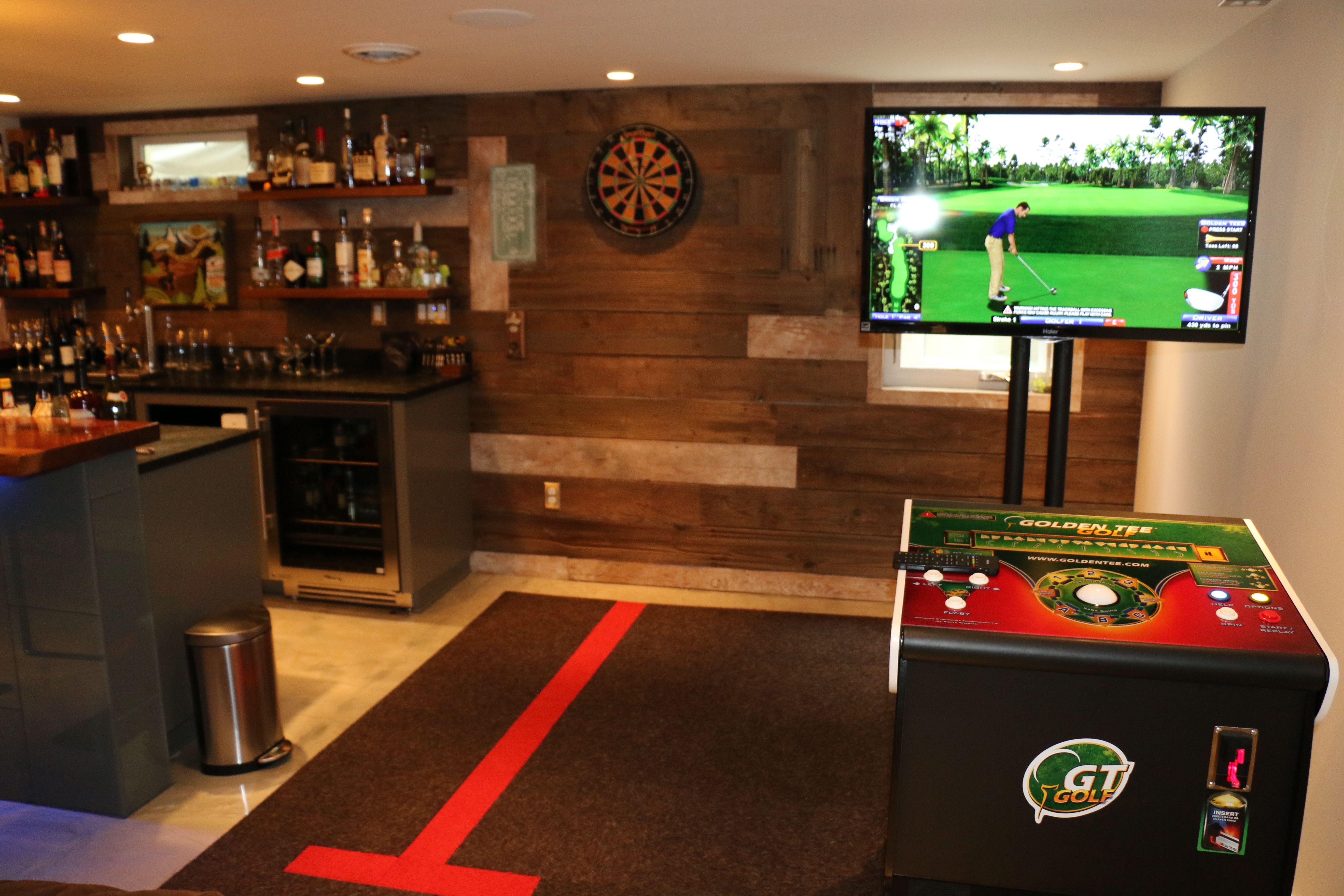 Basement Game Room Golden Tee And Darts Game Room Basement