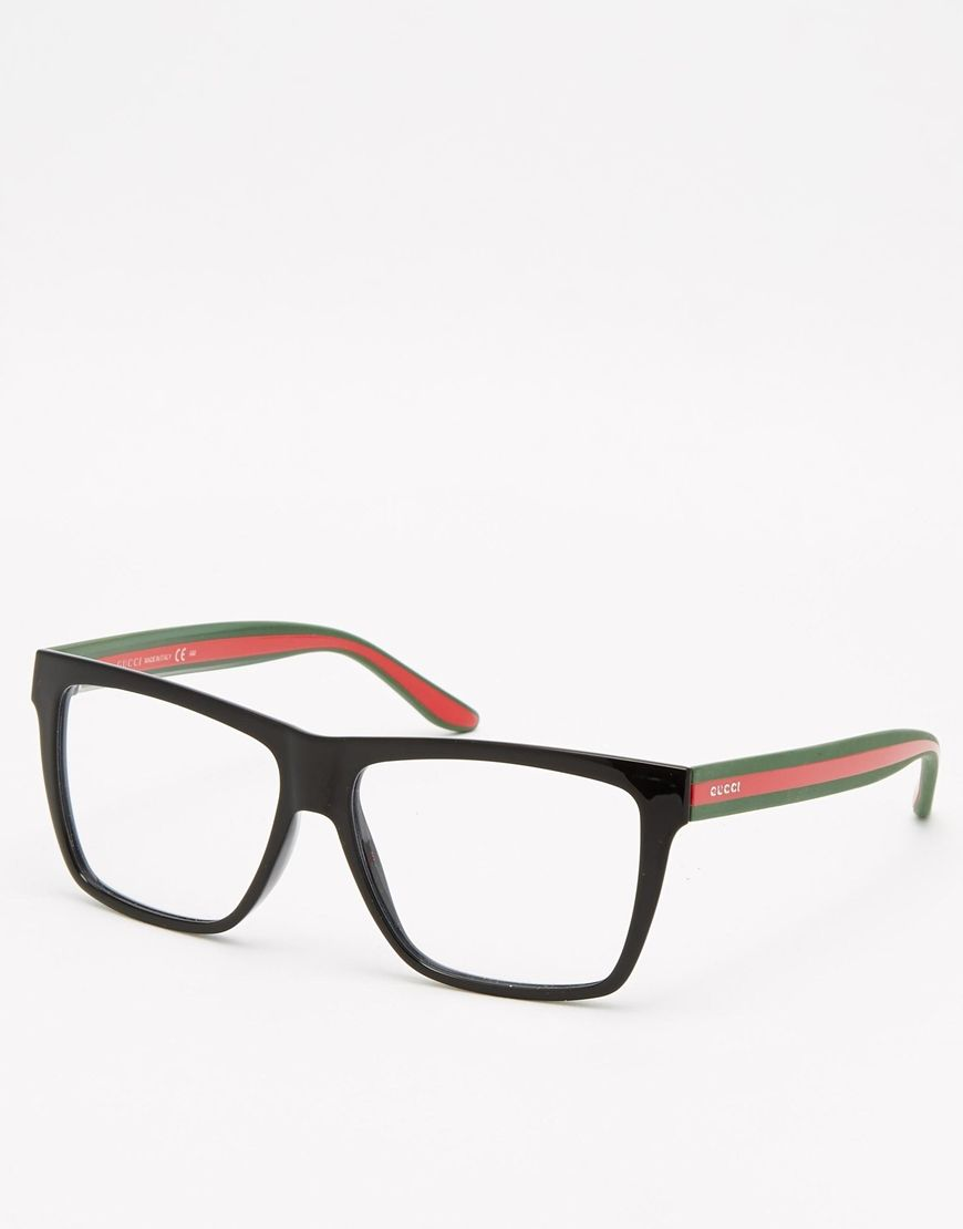 Glasses by Gucci Angular frames Moulded nose pads for added comfort ...