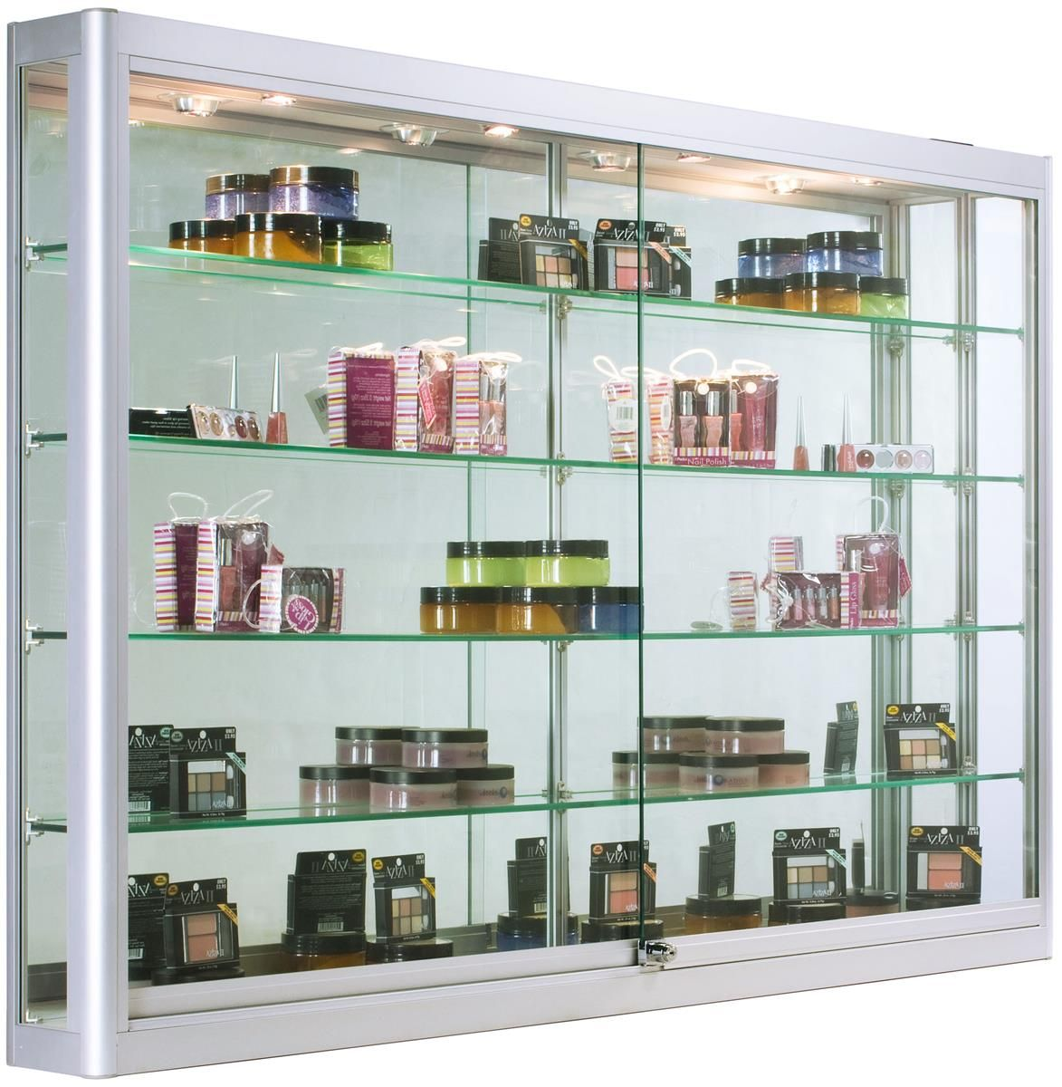 5ft Wall Mounted Display Case W 4 Top Led Lights Mirror Back Locking Silver In 2020 Wall Mounted Display Case Wall Mounted Display Cabinets Glass Shelves