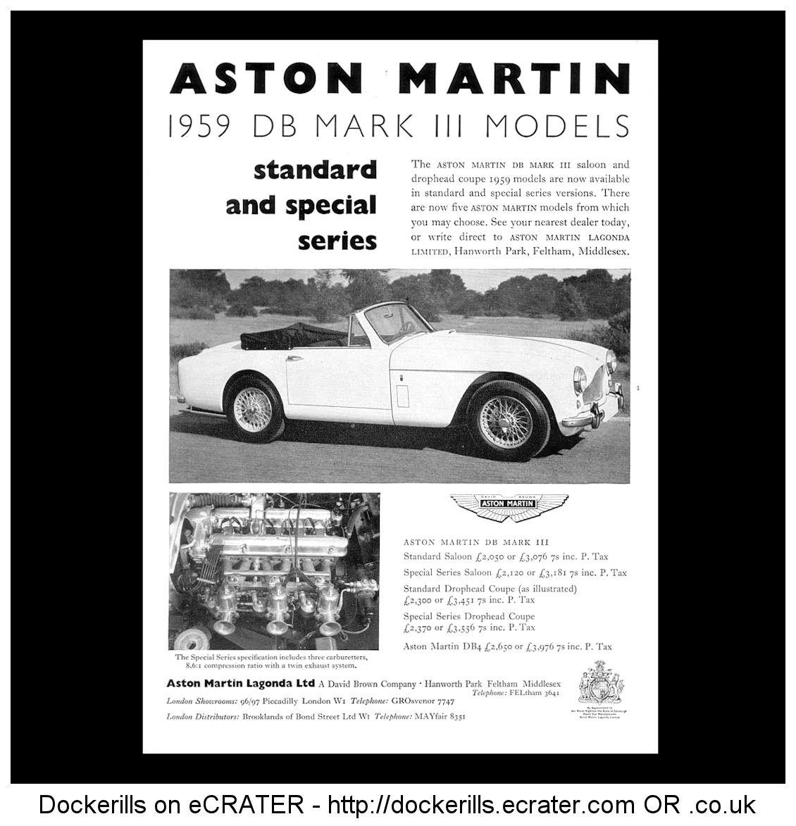 Aston Martin Advert Aston Martin Db Mark Iii Advert 1959 Aston