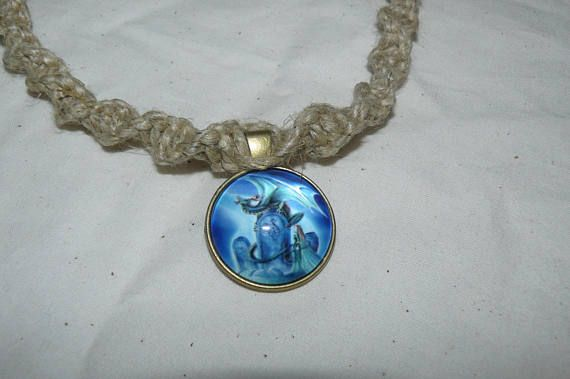 Glass pendant hemp necklace swirl knot blue dragon on my glass pendant hemp necklace swirl knot blue dragon on headstone design brass tone metal base mozeypictures Images