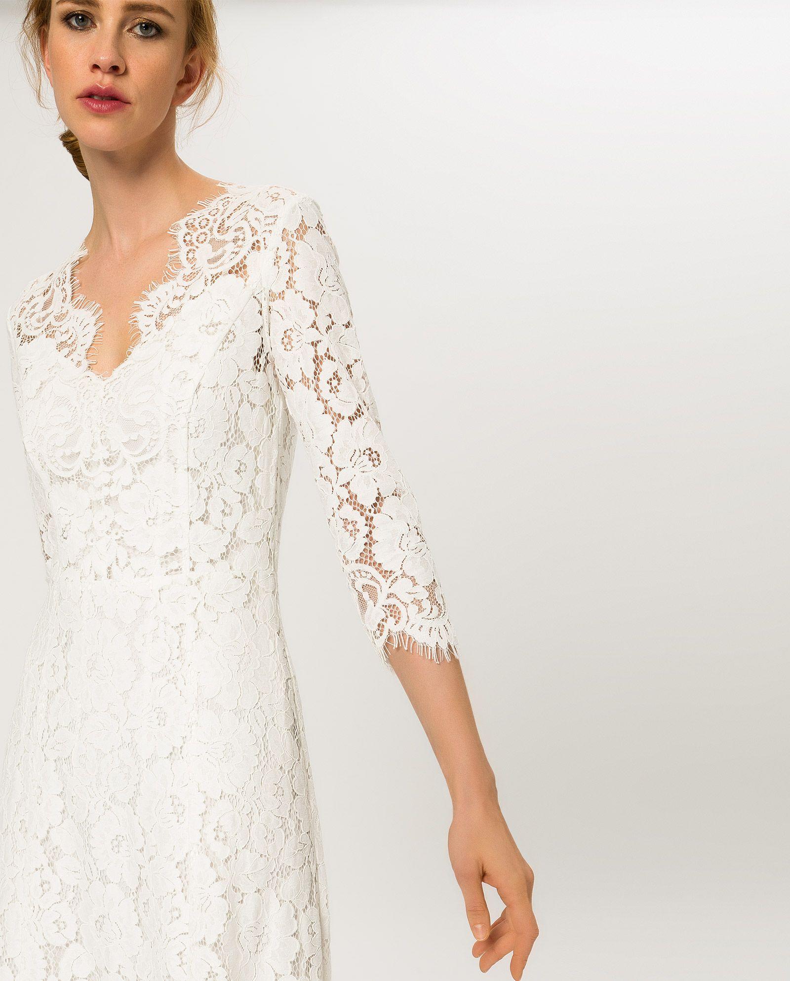 Bodenlanges Spitzenkleid - Cremeweiß - IVY & OAK  Lace dress