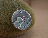 Pendant, Sterling Silver Riveted Necklace with Pink Spinel Gemstone