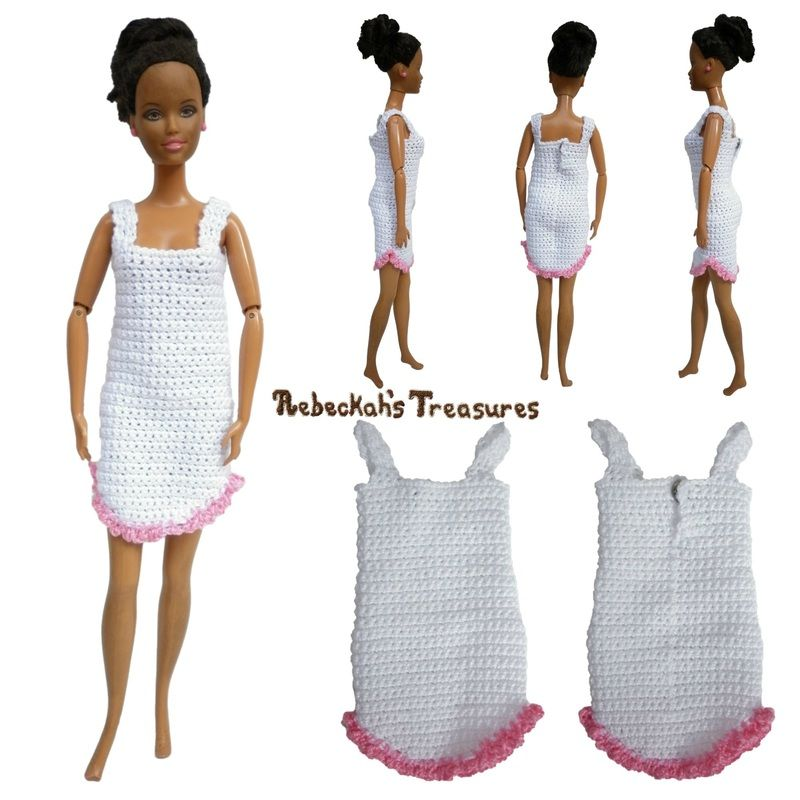 Fashion Doll Nightgown Pattern | 1:6 Crochet Clothes & Accessories ...
