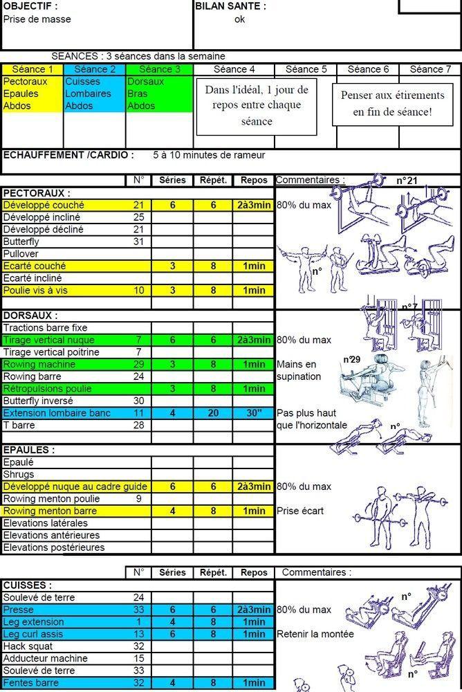 Préférence Programmes objectif: Masse Musculaire de Exercices de musculation  XL46