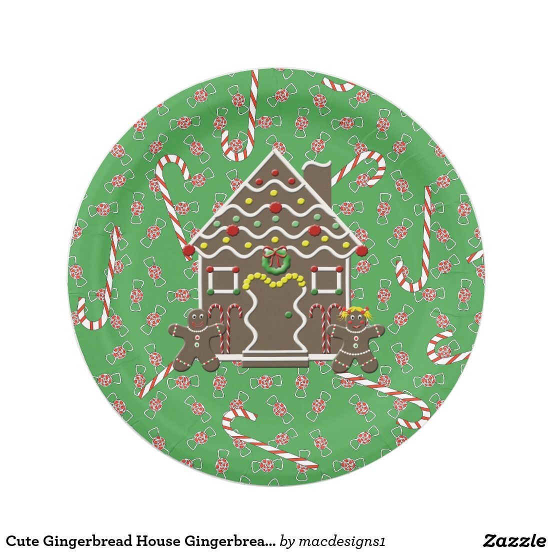 Cute Gingerbread House Gingerbread Couple Paper Plate  sc 1 st  Pinterest & Cute Gingerbread House Gingerbread Couple Paper Plate | Christmas ...