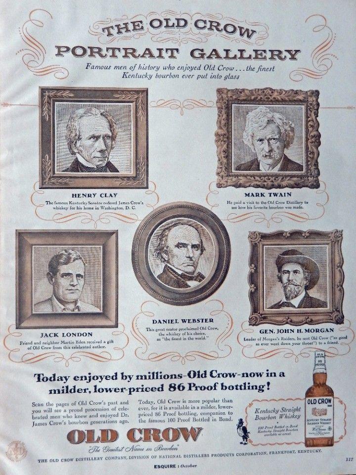 Old Crow Bourbon Whiskey  Vintage Print Ad  50 s Color Illustration  Portrait Gallery   Art
