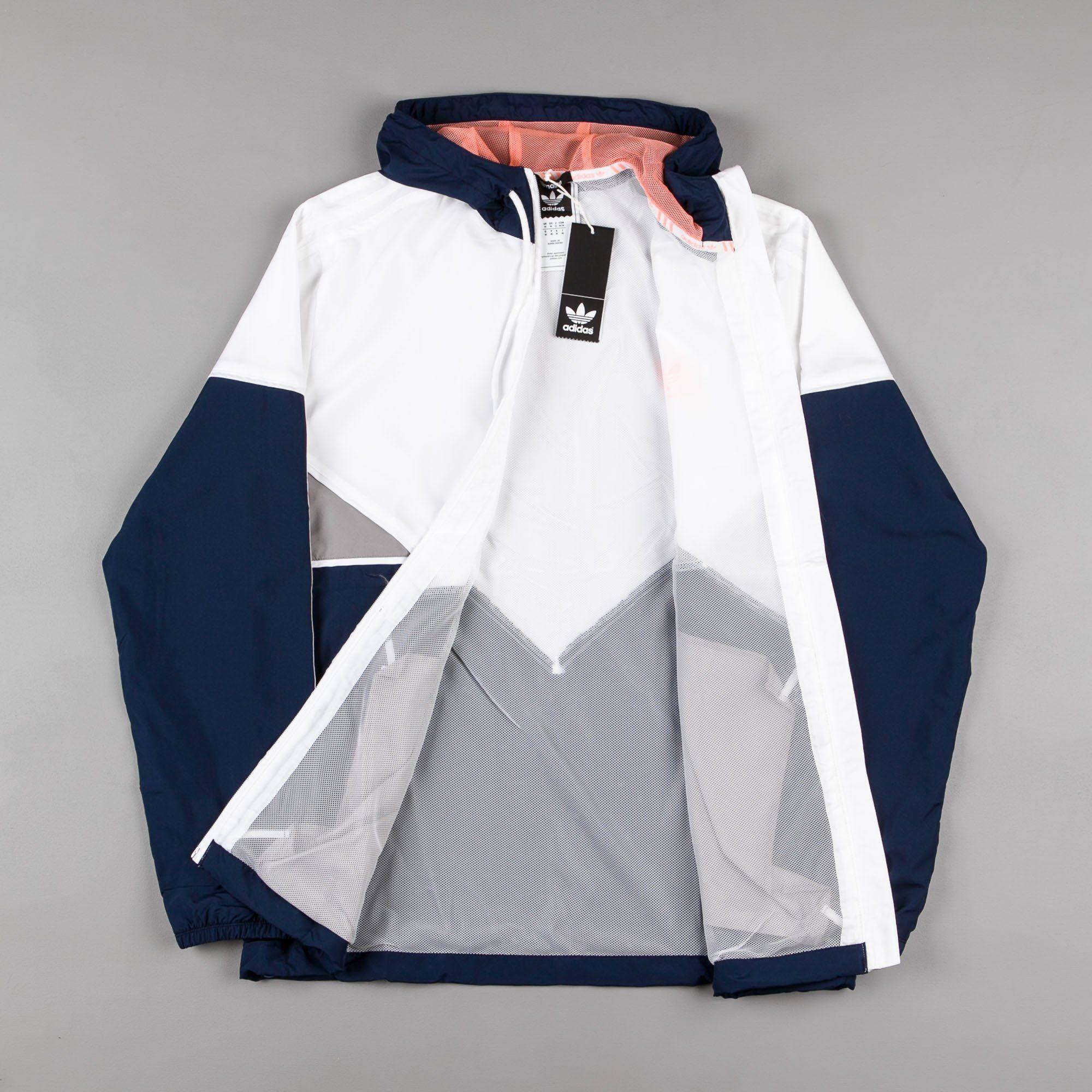 7d8a14ef3a00 Adidas Premiere Windbreaker Jacket - Navy   White   Sun Glow