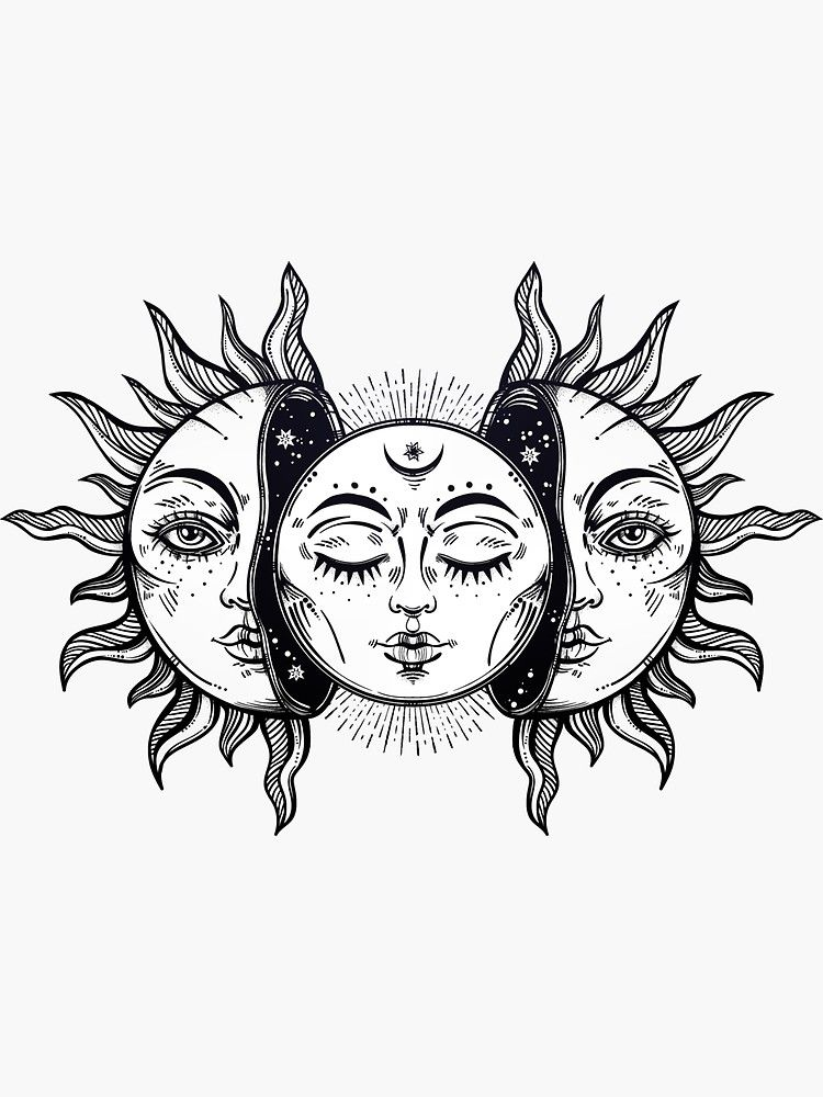 'Vintage Solar Eclipse Sun and Moon' Sticker by MagneticMama