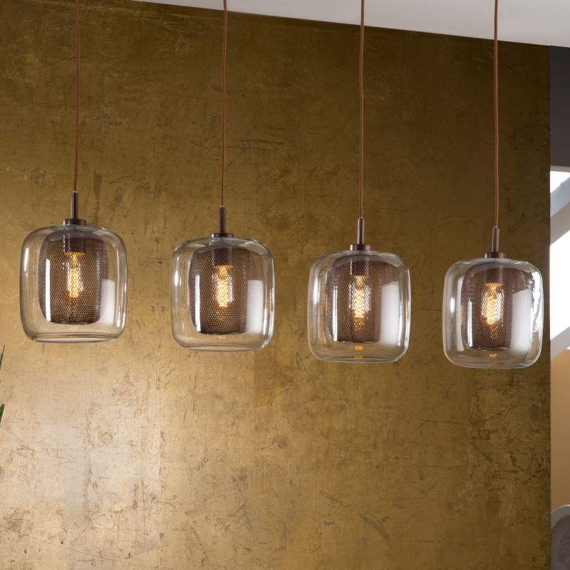 4 Flammige Hangeleuchte Fox Mit Doppelschirmen Von Schuller Hangeleuchte Lampe Kuche Glas Pendelleuchten