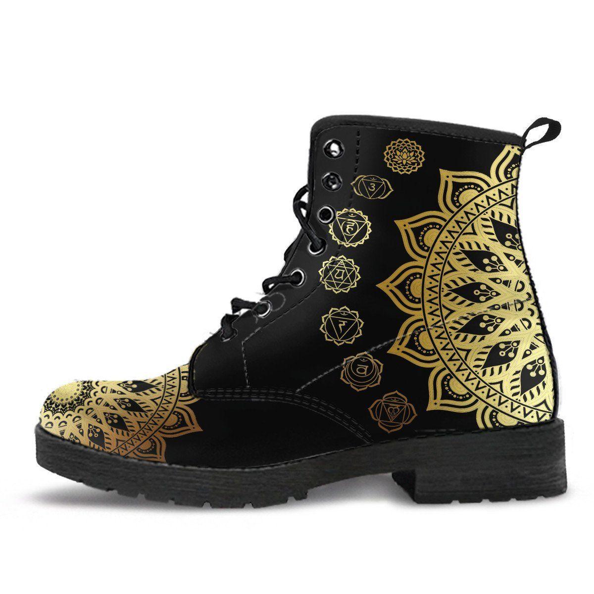 Gold mandala boots martin boots combat boots