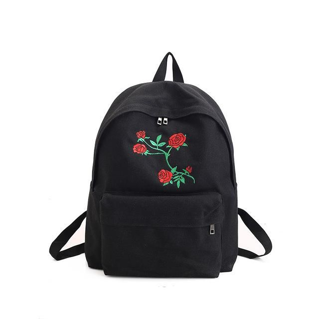 899526dab0 Embroidered Black White Backpacks. CIKER Women canvas backpack cute fashion  rose ...