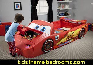 Children Cars Lightning Mcqueen Toddler To Twin Bed With Lights And Toy Box