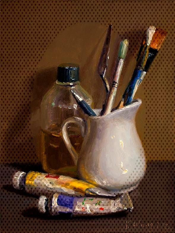 Wang Fine Art still life with paint and brushes, small painting...