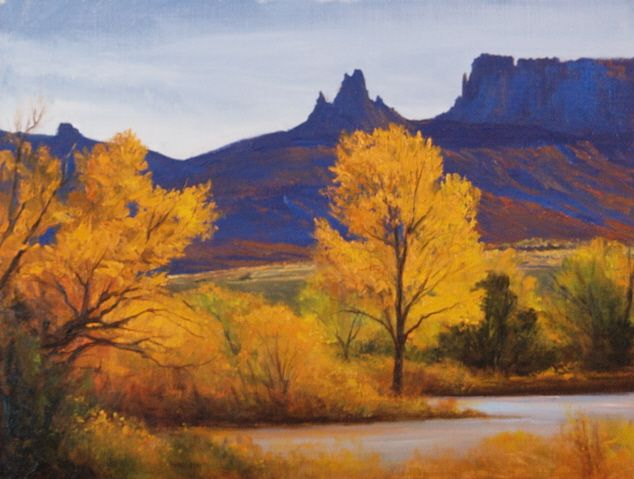 """Gateway Seasons"" l 9x12 I Dix Baines I Fine Artist l Original Oil Paintings I Colorado l Autumn l Yellow l Gateway Colorado l www.dixbaines.com"