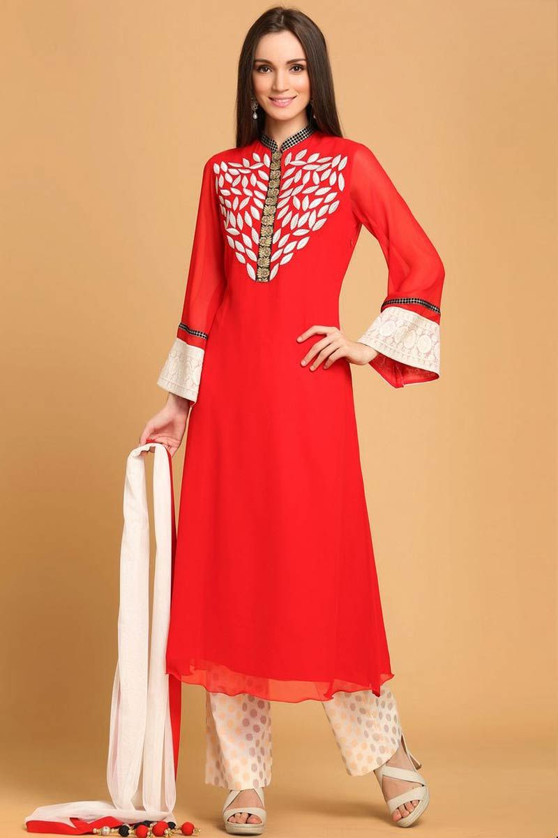 Red Georgette Cigarette Pant, Knee Length Kameez, Full Sleeve Kameez