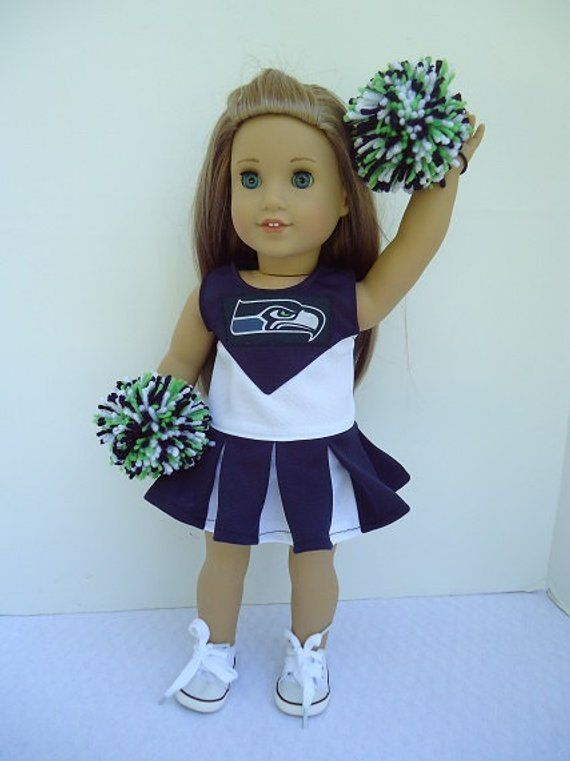 American Doll 18 Seattle Seahawks Cheerleader, Pompoms and Gym Shoes