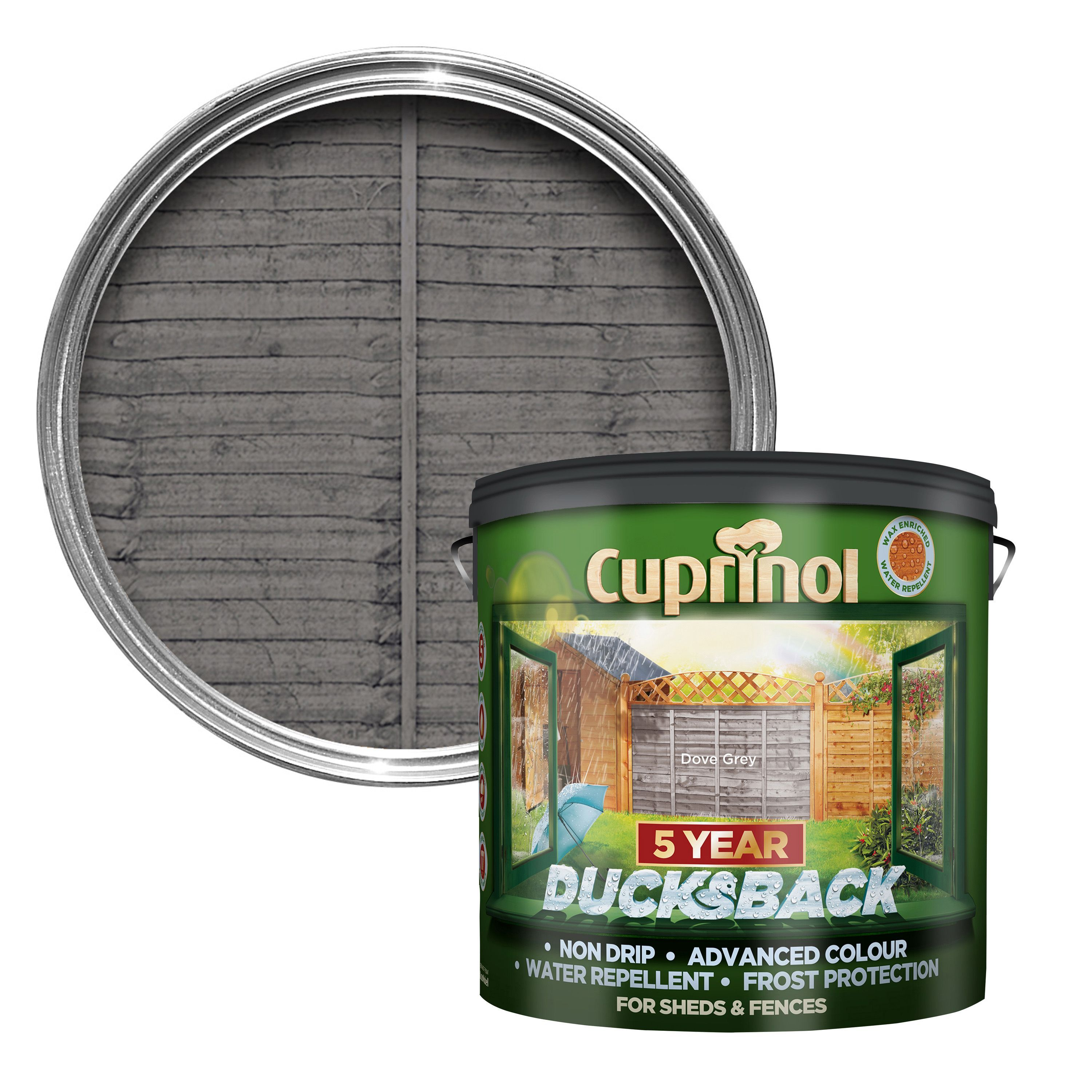 Cuprinol ducksback grey shed fence treatment 9l departments cuprinol ducksback grey shed fence treatment baanklon Image collections