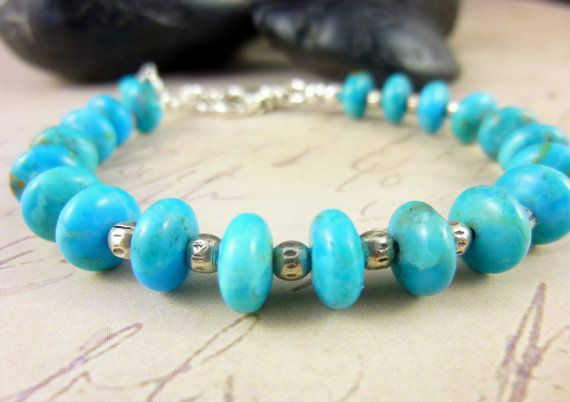 Fine Arizona Turquoise Bracelet with Hill Tribe Silver, cleansed and energy activated by EarthEnergyGemstones