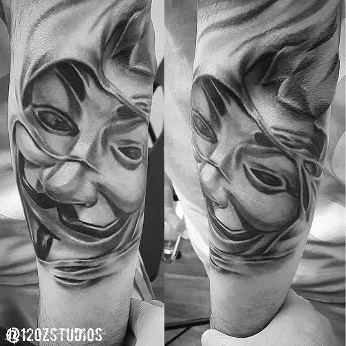 Tattoo Designs Vendetta: Awesome Detailed Realistic Black And Grey Guy Fawkes Mask