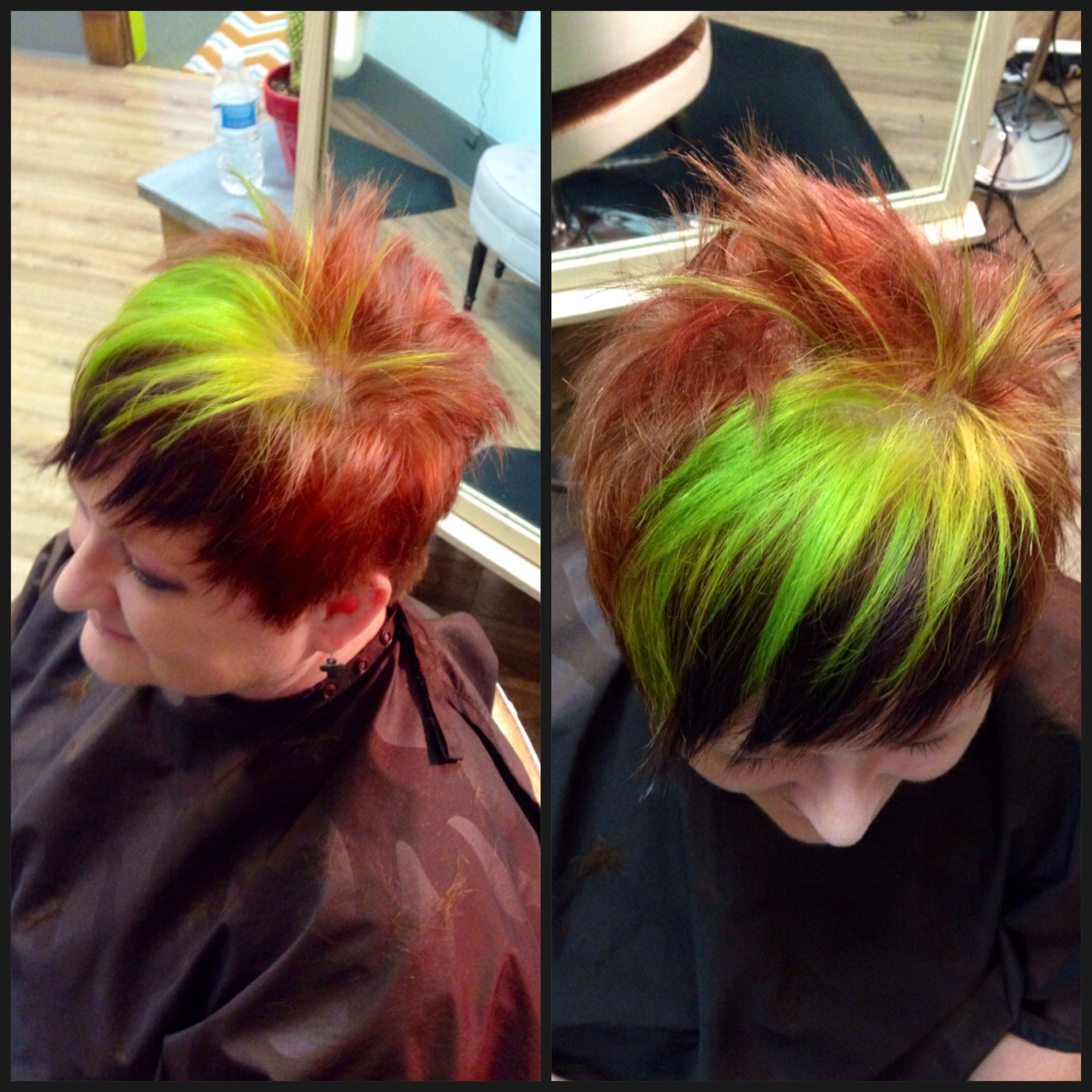 Fun hair! Plum, chartreuse, and red pixie. #mywork