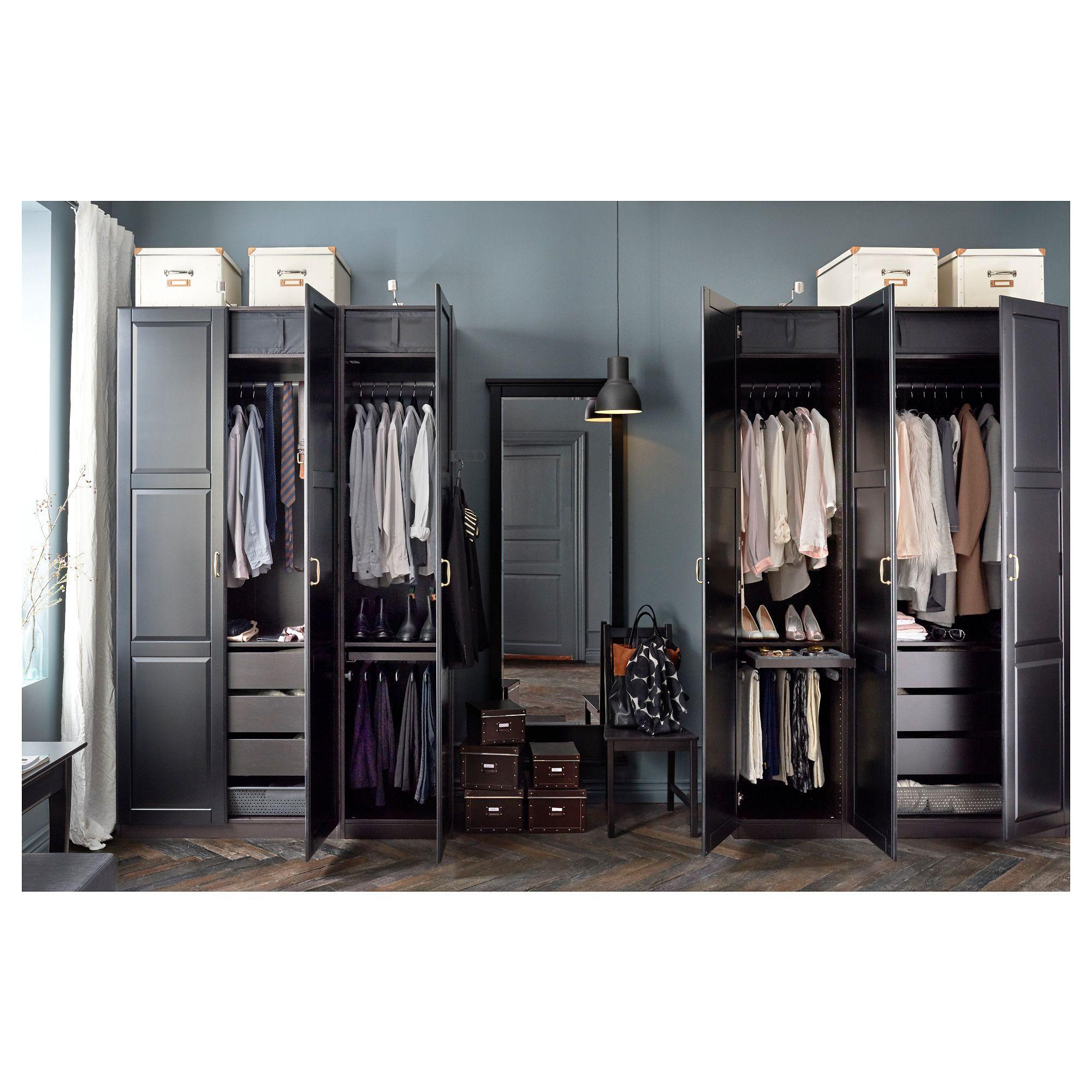 Pax Wardrobe Black Brown Undredal Black 59x23 3 4x93 1 8 Pax Wardrobe Ikea Wardrobe Ikea Wardrobe Hack