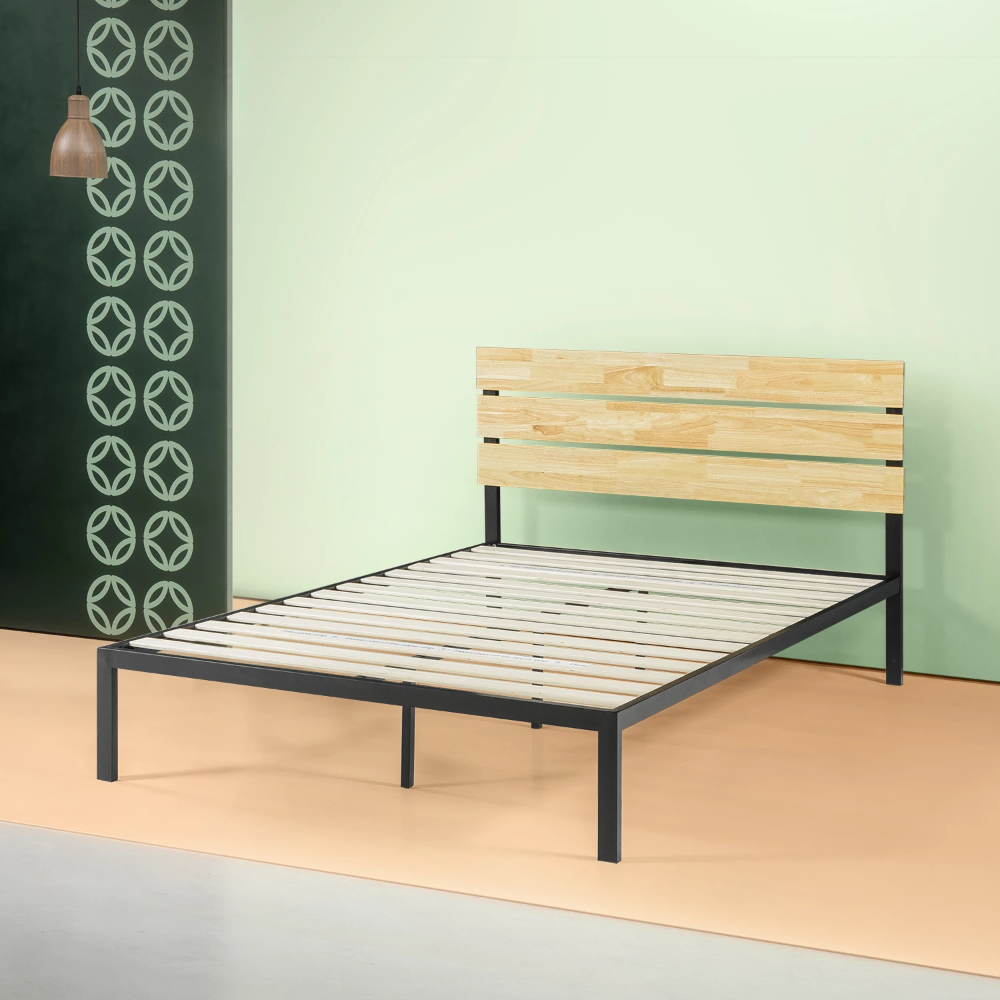 Paul Metal And Wood Platform Bed Frame With Images Wood
