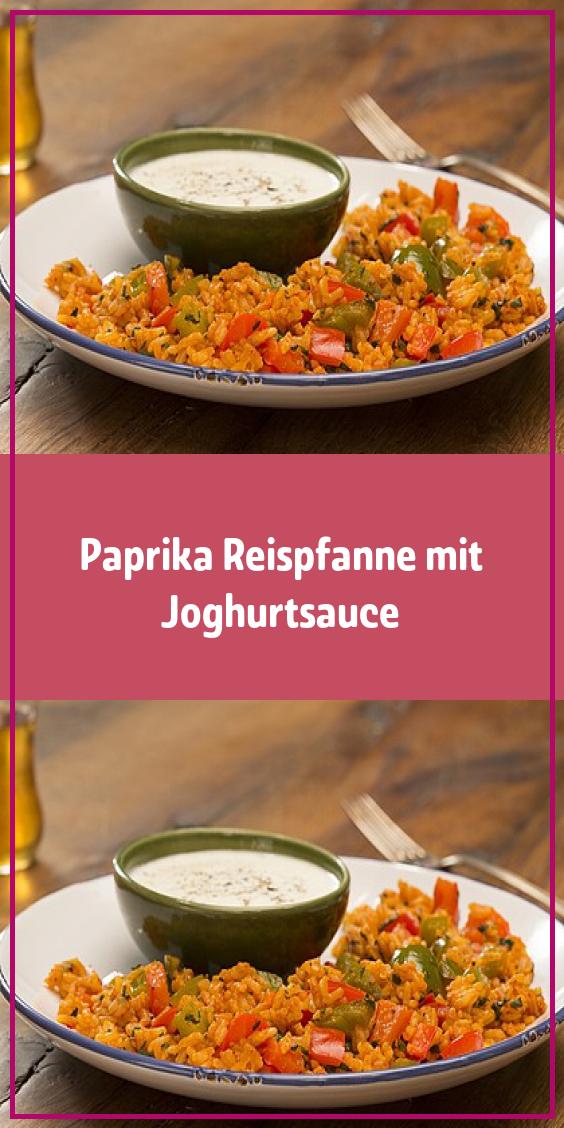 Paprika Reispfanne mit Joghurtsauce #schnellerezeptemittagessen