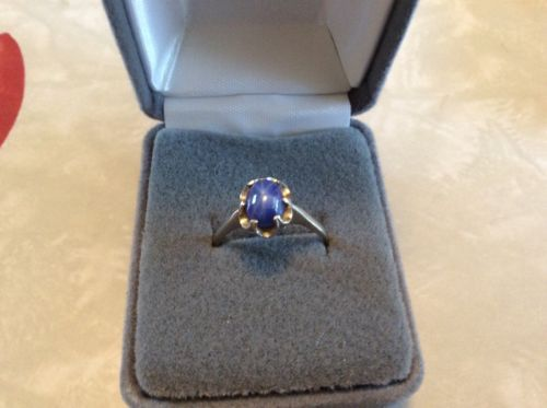 Women-039-s-10k-Gold-amp-Star-Sapphire-Ring-Size-8