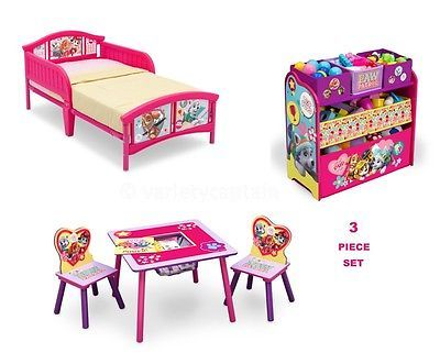 PAW PATROL Bedroom Furniture Set GIRLS Toddler Bed Room Toy Storage ...