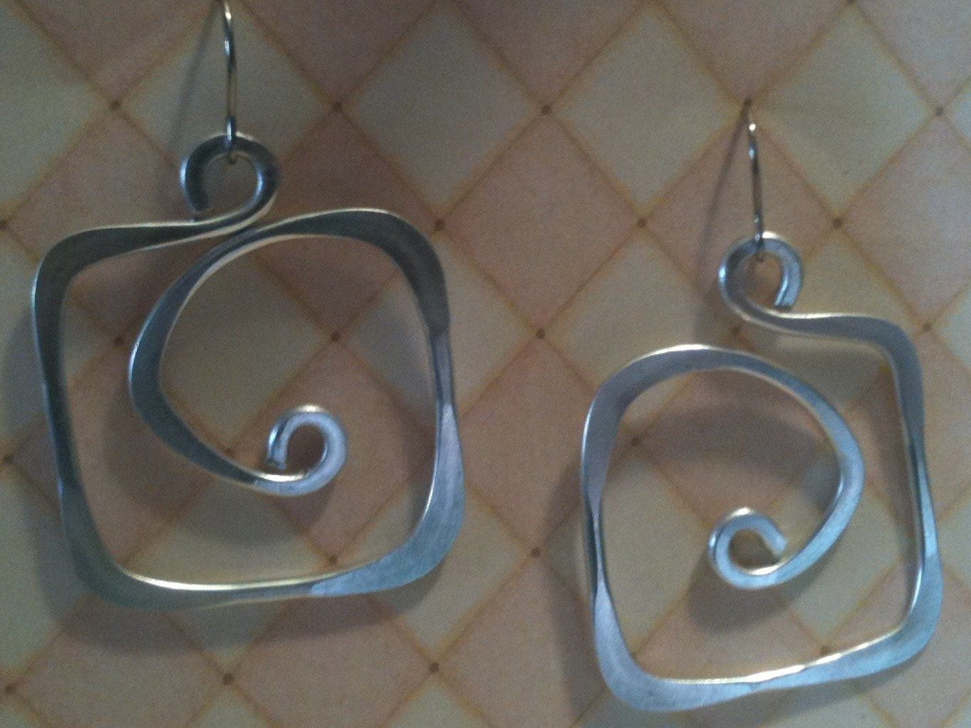Aluminum Wire Jewelry Earrings Square Hoops Lightweight Non Tarnish Silver  Or Multicolor $1500, Via