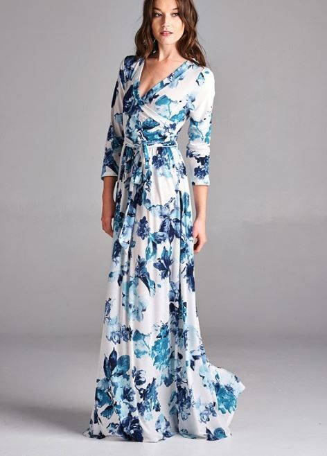 eb6801fa New Floral Bohemian White & Blue Wrap Stretch Boho Flattering Long Dress S  M L #Unbranded #Maxi #Casual