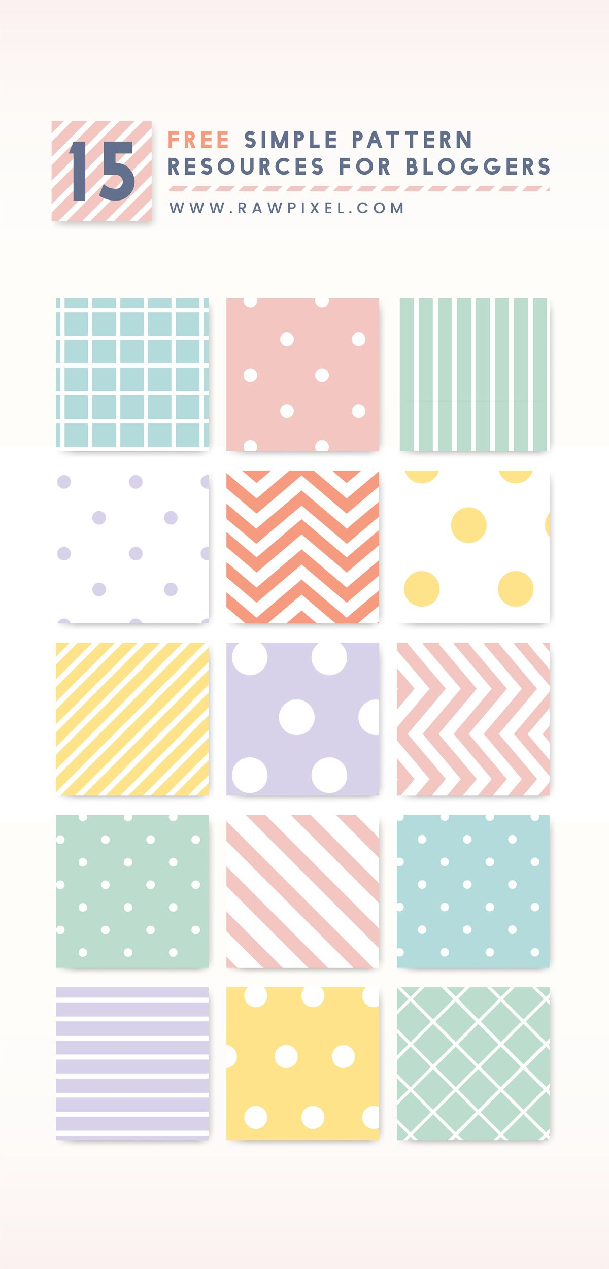 Grab Free Vectors Of Minimal Pattern Set In Pastel At Rawpixel Com
