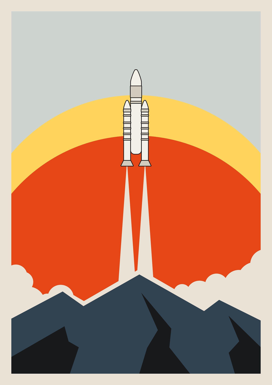 Space Rocket Print Retro Wall Art Space Travel Poster Home Etsy Retro Wall Art Buy Art Artworks Art