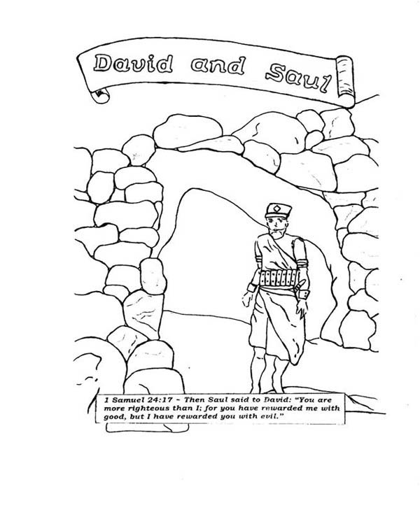 David and Saul in the Story of King Saul Coloring Page