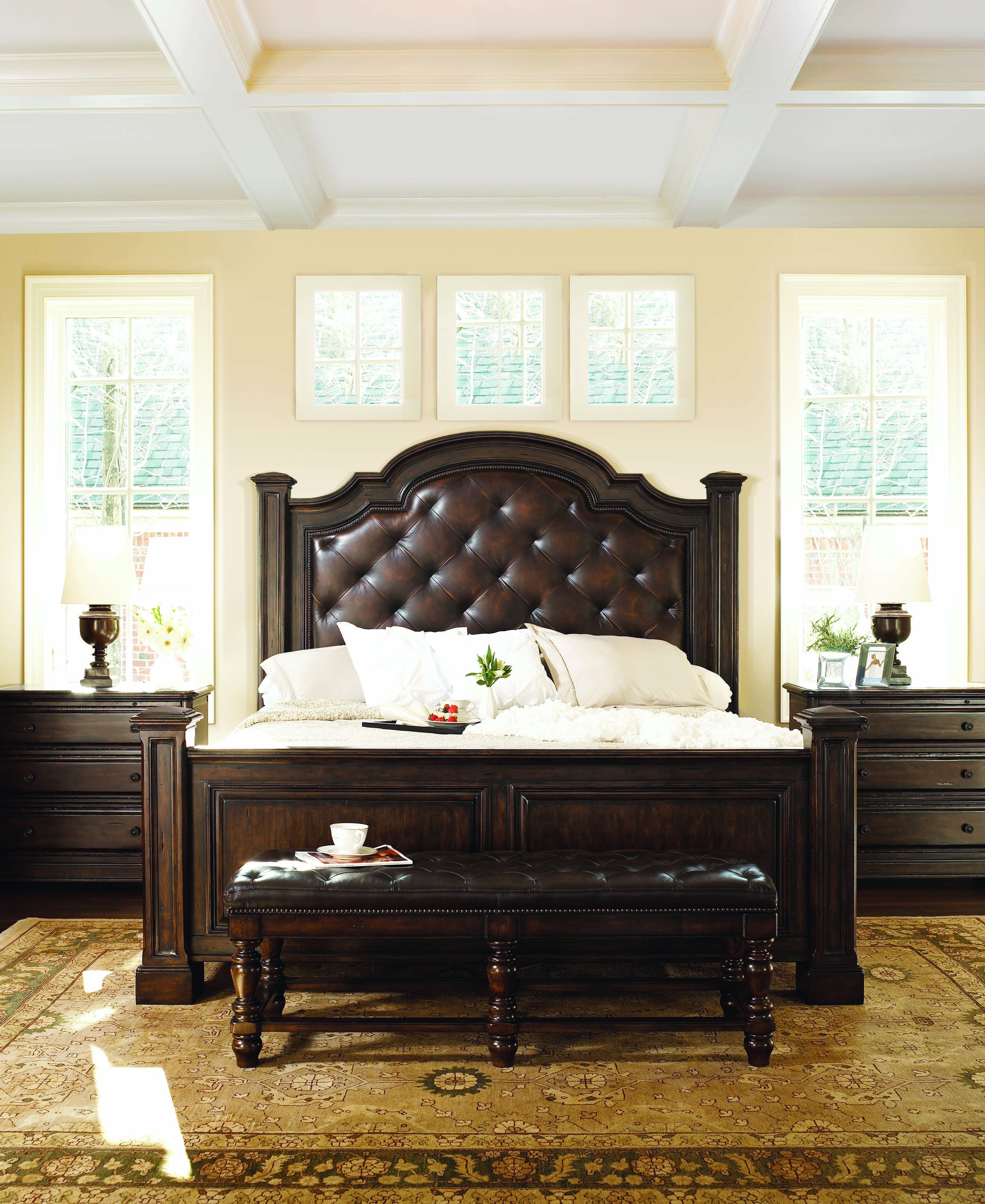 Bernhardt Normandy Manor At Stacy Furniture Design This Panel Bed Is Featured With A Luxurious Leather King Bedroom Sets Bernhardt Bedroom Furniture Prices
