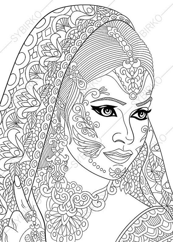 Coloring Pages For Adults Digital Coloring Page Indian Etsy Cartoon Coloring Pages Tattoo Coloring Book Coloring Books