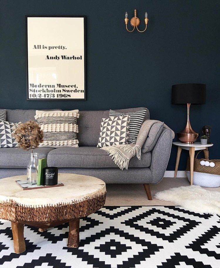 Dark Blue Walls What S Not To Love Hornsby Style Teal Living Rooms Copper Living Room Dark Living Rooms