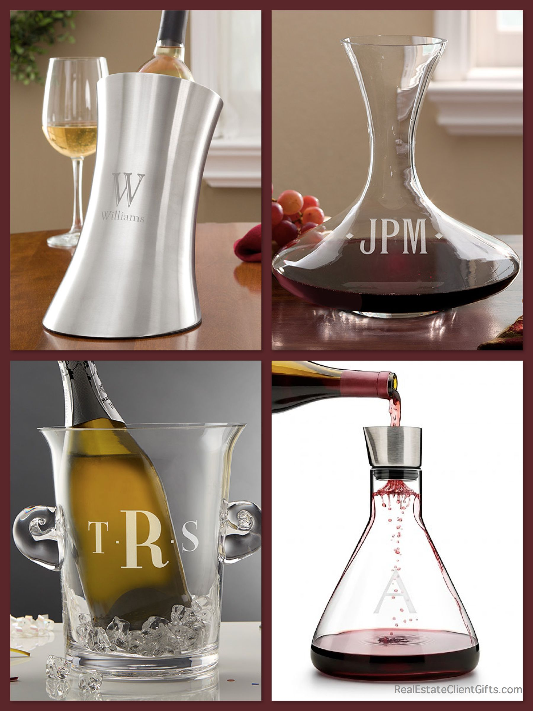 Unique Wine Decanters Personalized Wine Decanters And Chillers Realtor Closing