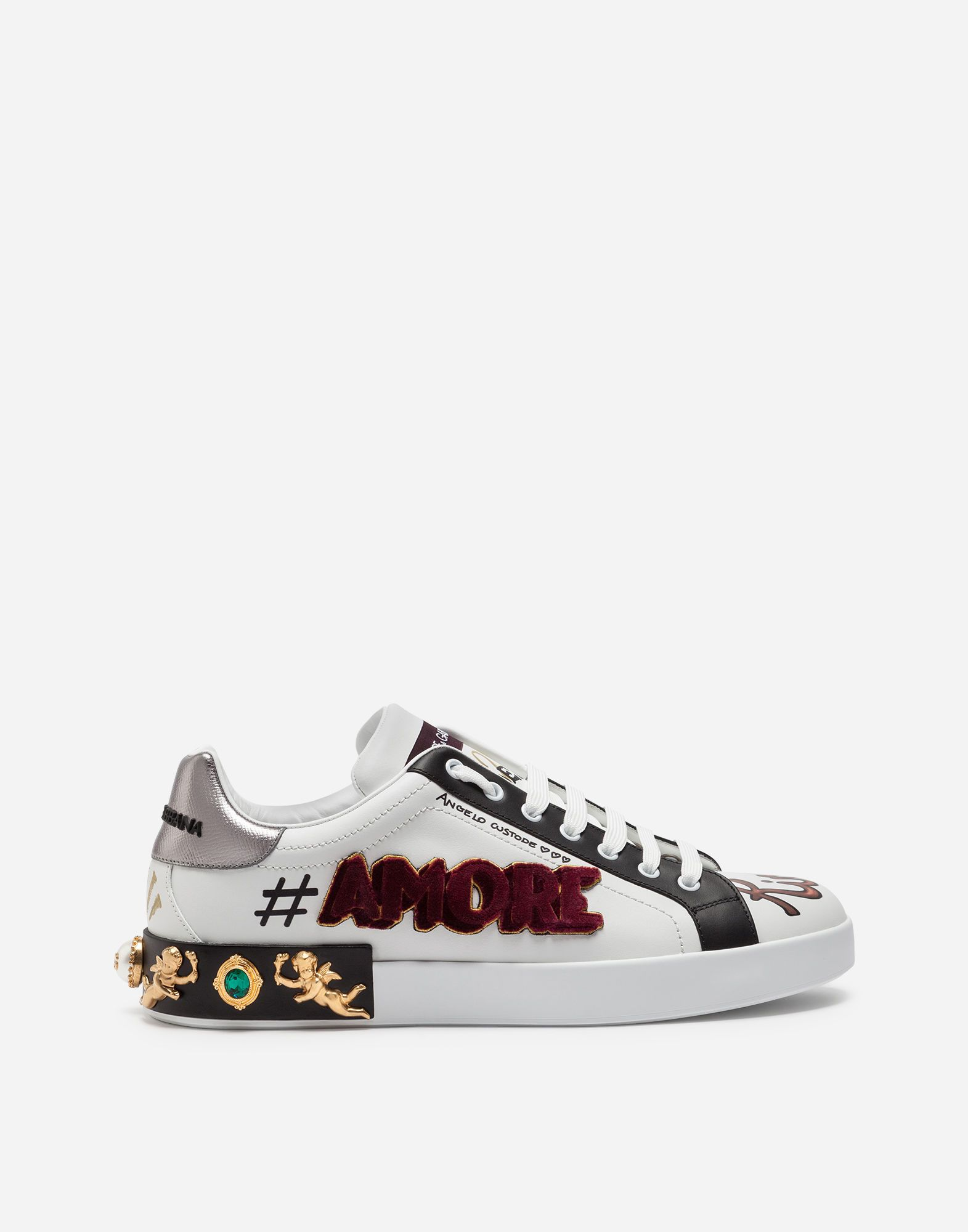 23a59ca90 DOLCE & GABBANA PORTOFINO SNEAKERS IN PRINTED CALFSKIN WITH PATCH AND  APPLIQUÉS. #dolcegabbana #shoes #