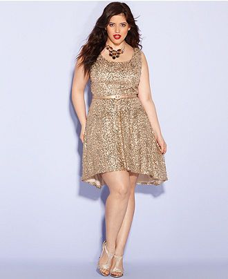 Ruby Rox Plus Size Dress, Sleeveless Sequin A-Line - Plus ...