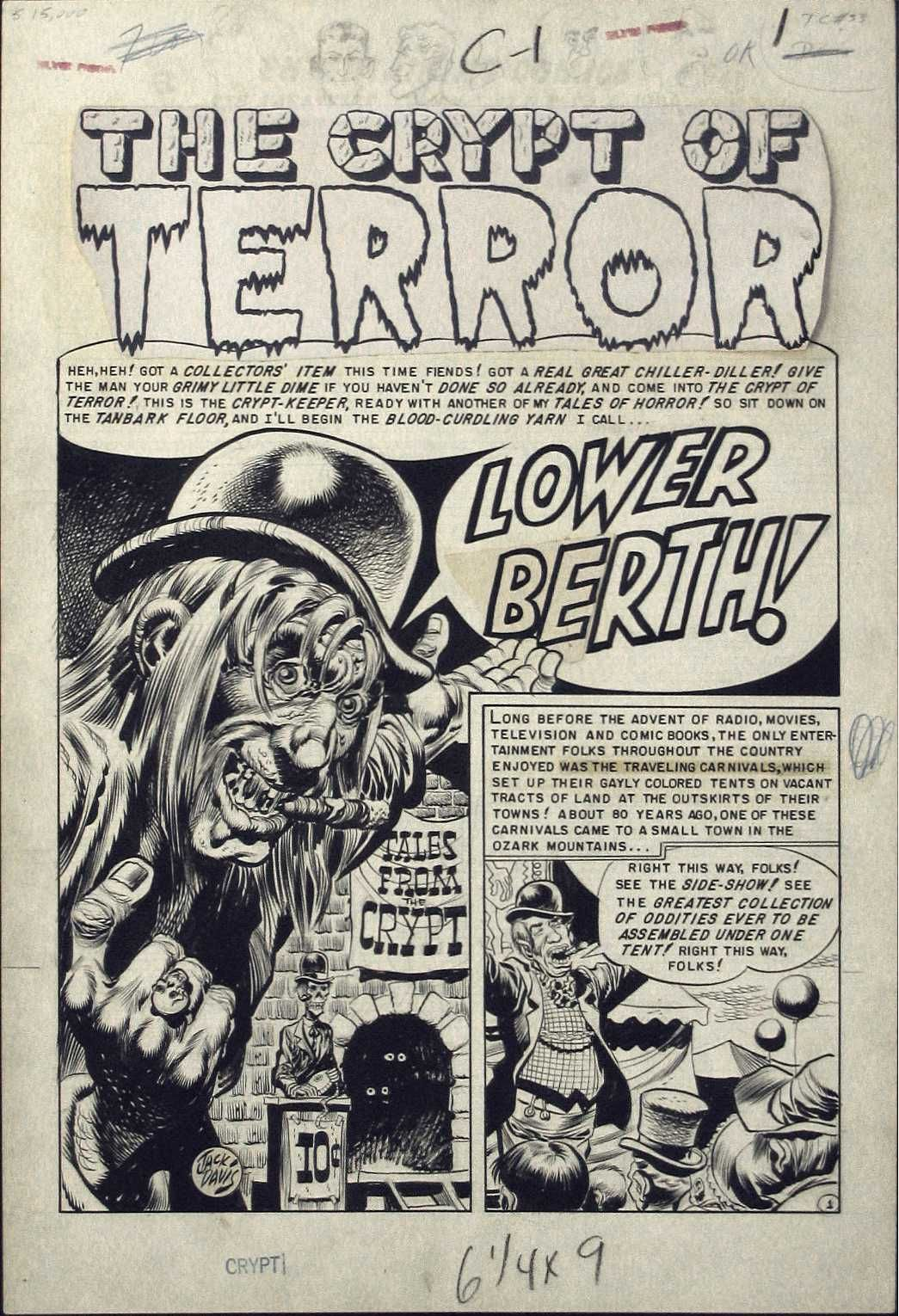 "Tales from The Crypt #33-""Lower Berth"" splash page. The story told the origin of the Crypt Keeper..The Old Witch's origin was told in Haunt Of Fear #14 in the story ""A Little Stranger""..No origin was ever done for The Vault Keeper by EC."