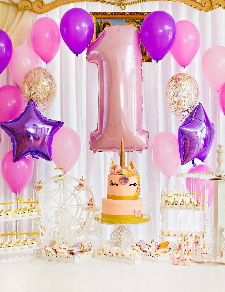 Colorful Balloons And Unicorn Cake For 1th Birthday Backdrop For