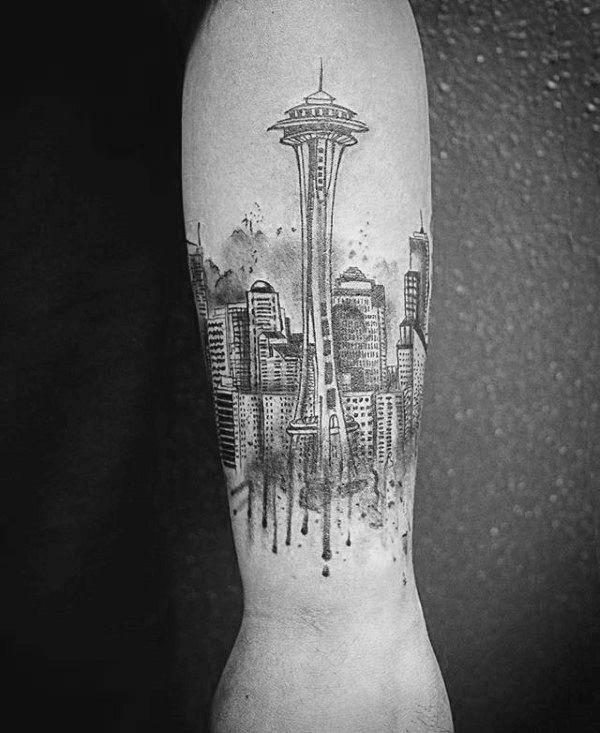 30 Seattle Skyline Tattoo Designs For Men - City Ink Ideas   Tattoos ...