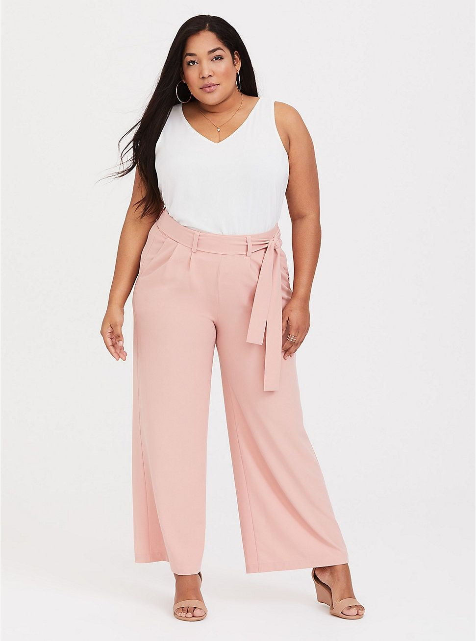 best sell official sale brand quality Pink Crepe Tie-Front Wide Leg Pant | Work Outfits in 2019 ...