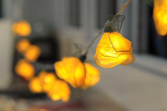 20 Yellow Handmade Real Leaf Rose Flower Leaf String Light